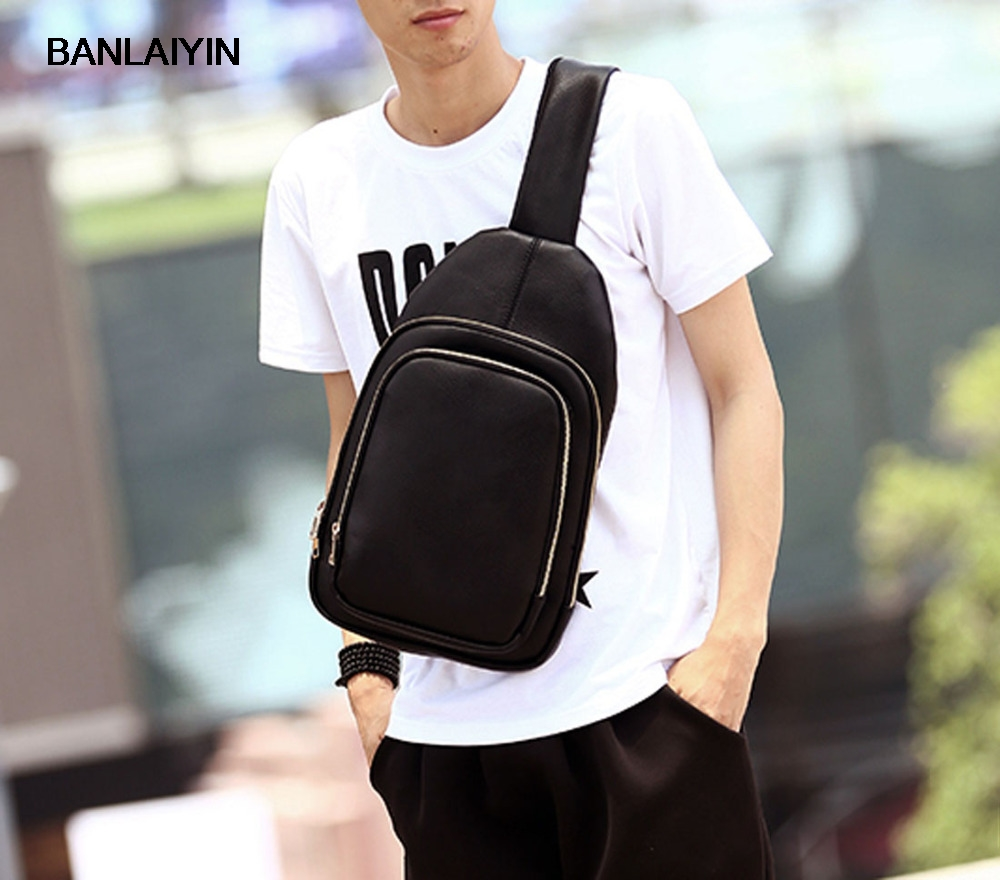 New Korean Mens Fashion High Quality PU Leather Messenger Shoulder Cross Body Fashion Sling Chest Back Pack Bag<br>
