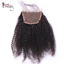 Ever Beauty Afro Kinky Curly Lace Closure Free Part Mongolian Non-remy Human Hair Natural Black Color Bleached Knots