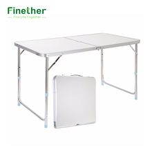 Finether Folding Outdoor Table Ultralight Height-Adjustable Aluminum Portable Table for Dining Picnic Camping BBQ Party Camping(China)
