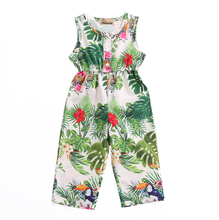 2017 Newest Green Lovely Kids Baby Girls Floral Romper Jumpsuit Outfits Sunsuit Clothes(China)