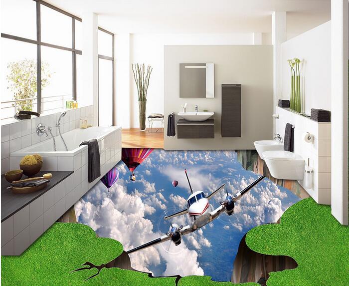 3 d pvc flooring custom  wall paper 3 d bathroom flooring plane painting grass balloon  mural photo wallpaper for walls 3d<br>