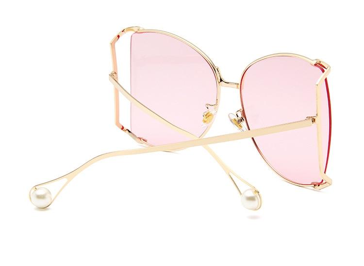 Newest Fashion Big Frame Cat Eye Sunglasses Women Pearl Decorate Metal Hollow Sunglasses Lady Square Sunglasses Ocean Lenses