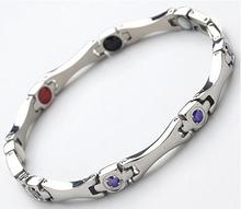 female stainless steel magnetic  purple and pink rhinestone charm germanium titanium health balance bracelet energy for women