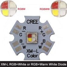 10w Cree XLamp XM-L XML RGBW RGB White or RGB Warm White Color High Power LED Emitter 4-Chip 20mm Star PCB Board(China)
