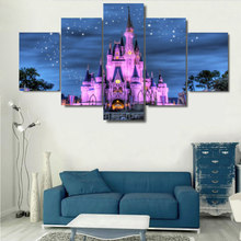 5 Pieces Castle Under The Stars Purple Night View Modern Home Wall Decor Canvas Picture Art HD Print Painting On Canvas Artworks