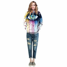 Autumn & Winter Eyes Print Hoodies Women Sweatshirt Couple Hooded Clothes Causal Women Pullovers hoodie sweatshirts with Cap