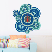 % DIY Needle Quartz clock Wall Sticker green circle flower Wall decoration clock PVC living room office coffee shop decoration(China)