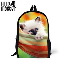 Backpack Mini Cute Kitty 17 Inch School Bags Boys Girls Large Capacity Cool 3D Print Modern Pattern Cross Shoulder Lightweight(China)