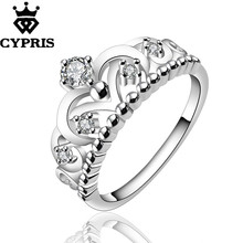 WHOLESALE R601-8 Best Selling On Sale silver new design fashion finger ring lady Woman crown cz stone  anneau  anel  anneau 925