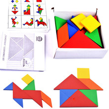 32 Piece Color Changed DIY Jigsaw Puzzle Toys Wooden Children Educational Toys Baby Play Junior Tangram Learning Set 896265(China)