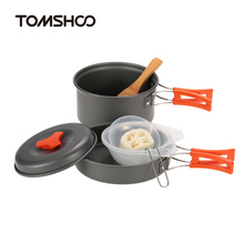 TOMSHOO 6Pcs/set Outdoor Camping Hiking Cookware Backpacking Cooking Picnic Bowl Pot Pan Set