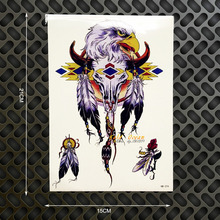 1PC Goat Sheep Head Temporary Tattoo Stickers Men Body Art ARm Sleeve Tatoo Feather GHB-374 Indian Totem Armband Tattoo Women