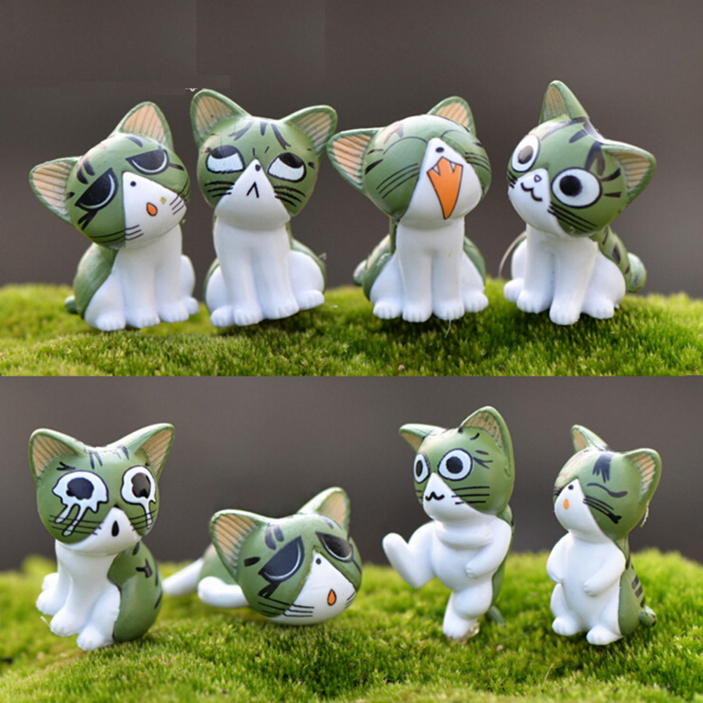 8pcs Cat Figurines Miniature Figurine Fairy Garden Cat Terrarium Cheese Miniatures Garden Decoration Miniature Fairy Figurines