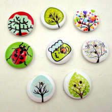 50pcs 2 Holes DIY Mixed Craft Colorful Rural System Wooden Cat Buttons Printing Buttons(China)