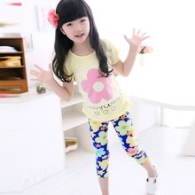 K56 Kids Trousers Milk Silk Pants Girl Floral Printed Leggings Elastic Trousers 1-7Y New