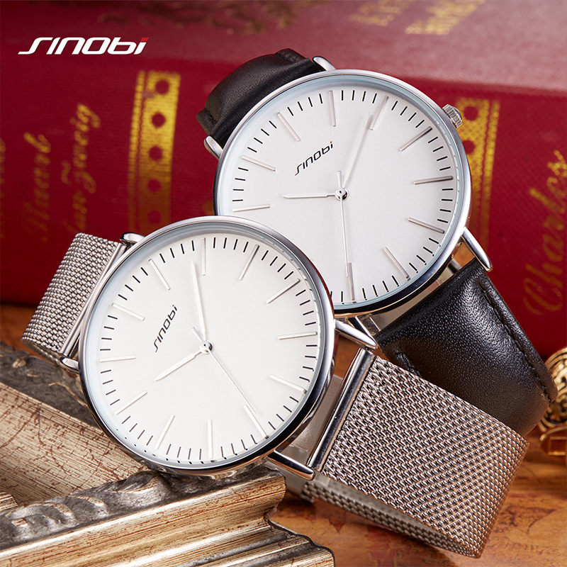 SINOBI 7.5MM Ultra-thin Dial Mens Watches Top Brand Luxury Genuine Leather Strap Quartz Watch Men Fashion Relogio Masculino<br>