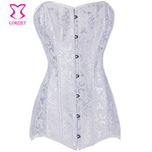 Sexy Gothic Lingerie Bridal Wedding White Long Corset Bustier Tops Spiral Steel Boned Burlesque Korset Overbust Corpete Corselet