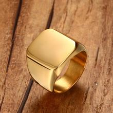 Men Pinky Ring Stainless Steel Band Biker Signet Style Classic Anillos Gold Tone Male Jewelry Aneis Masculino Bijoux Jewellery