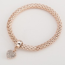 street fashion simple temperament rose gold color elastic popcorn chain snake chain cute Heart pendant Crystal Bracelet women(China)