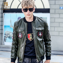 Fanzhuan Free Shipping New Male men's man autumnfashion casual embroidered Baseball collar Pilot leather jacket 2017 coat 710096