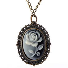 Cindiry White Rose Flower Bronze Retro Pocket Necklace Pendant Watch Women's Gifts