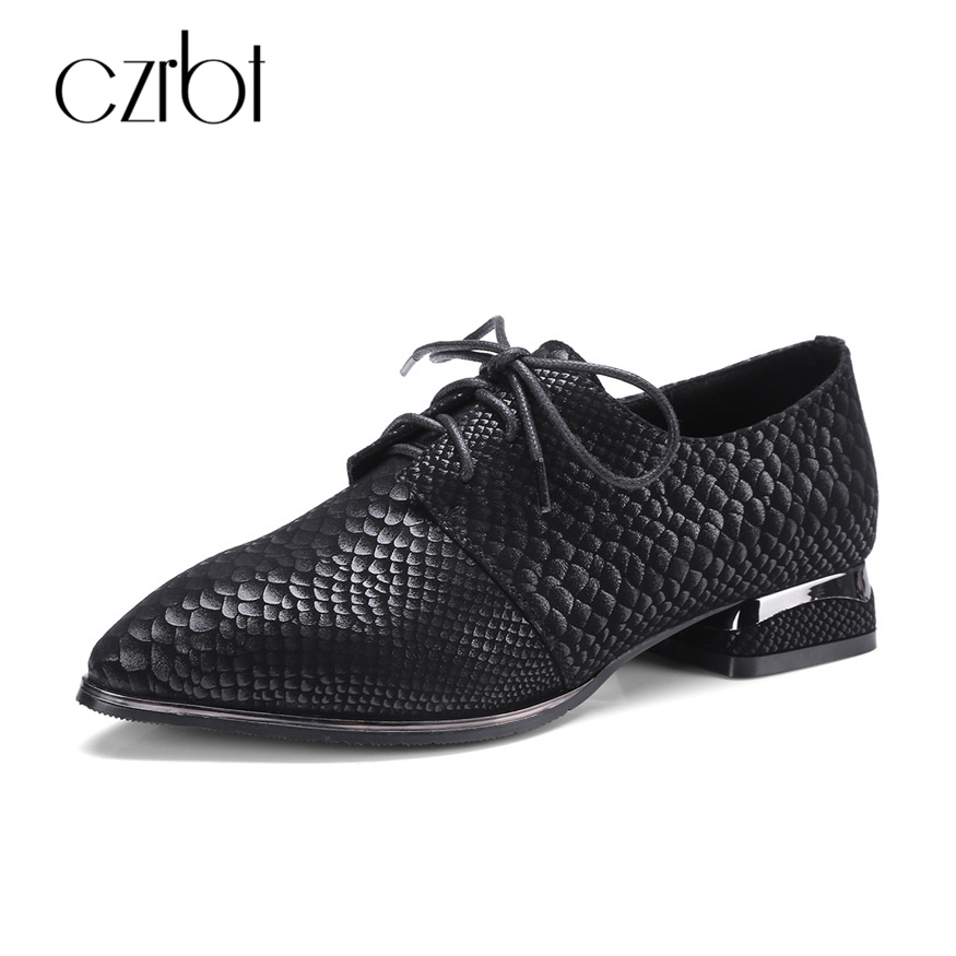 CZRBT Python Skin Style Women Fashion Oxfords Laides Brogue Flats Shoes Top Quality Sheep Leather 100% Handmade Big Size Shoes<br>