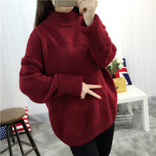 New winter christmas gift women ladies knitted turtleneck pullover sweater pull femme jumper sweets top femme korean
