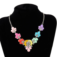 EVERYSHINE Fashion new Women Colorful flower gemstone pendant Necklace brand Jewelry summer party wedding Necklace JQ709