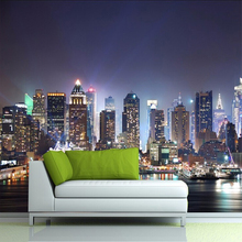 Modern New York City Building Night Scenery Photo Mural Wallpaper Custom Size Non-woven Home Decor 3D Background Wall Wallpapers