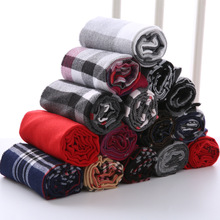 Brand Designer Plaid Men Scarf Winter Fashion Knitted Scarves Classical Plaid Scarf for Women Imitation Cashmere Scarves Tassel(China)