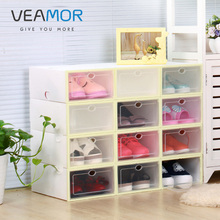 VEAMOR Men/women Shoes Storage Box Transparent Multifunction Storage Box Shoes Organizer Thickened drawer DIY Boxes WB1392(China)