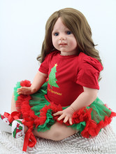 "bonecas lifelike long hair red dress dolls  girls birthday gift  Large size 24"" 60CM  doll reborn for girls toys silicone"