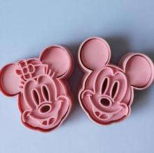 2pcs Cartoon 3D Cake Mold Mickey Minny Mouse Fondant Cake Cookie Biscuit Cutter Mold Mould Tools Set