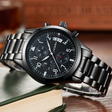 Buy 2017 Fashion Luxury Brand SINOBI Chronograph Men Sport Watches Waterproof Full Steel Casual Quartz Men's Watch Relogio Masculino for $21.99 in AliExpress store
