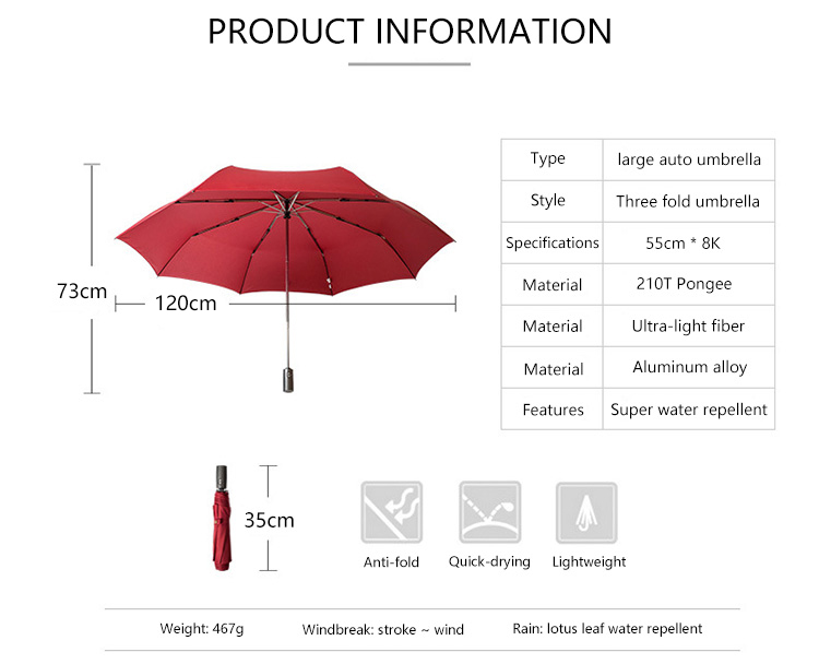 High Quality Brand Large Folding Umbrella Men Rain Woman Double Golf Business Gift Umbrella Automatic Windproof Umbrellas 2