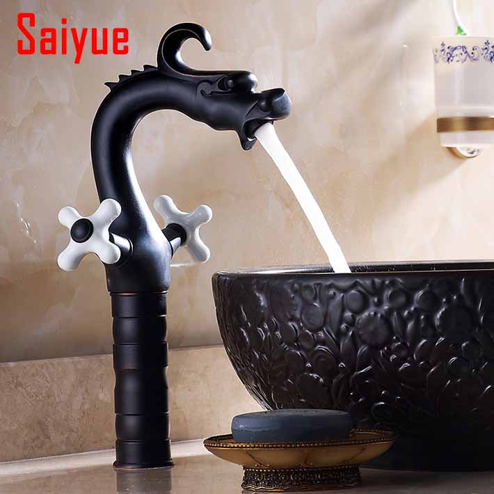 Black Antique Dragon Bathroom Basin Faucet brass  single handle Hot and Cold Water Tap Deck Mounted Mixer Tap (oil rubbed bronze<br><br>Aliexpress