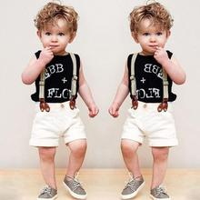 Summer Casual Boys 2PCS Clothing Set Fashion Boys Clothes(Black Vest+Suspender Shorts) New Arrived Children's Outfit