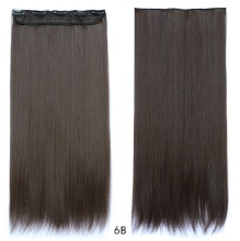 "Free Shipping 24""(60cm) 1pcs set 100g Women straight Long Synthetic Hair Clip In On Hair Extensions #6 brown"