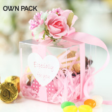 10 pcs/lot Plastic candy box with ribbon silk flower wedding favor gift boxes 1 piece=1 box+1 ribbon+3 flowers+1 sticker