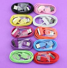 WEMECOFA Colorful 1M 3ft High quality 30 pin USB Charger Sync Data Cable for iPad3 for iPhone4 4S 3G for iPod for Nano for Touch