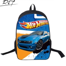 2016 New Design Kids Game Team Hot Wheels DRIFT Backpack Child Cartoon Cars Boys School Backpacks Bag Men't Backpack for Teenage