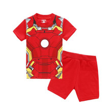 Children Baby Boys Girls Kids Spider-Man Iron Man batman Shorts Sleeve Pajamas Suit Boy's Girl's Sleepwear Homewear Pyjamas Sets