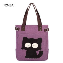 FZMBAI 2017 Women's handbag canvas bag with cute cat Appliques portable fashion ladies shoulder bags small bags(China)