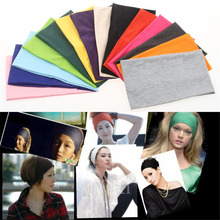 Creative Women girl Candy solid Color Wide Yoga Headband Stretch Cotton Hairband Elastic Hair Bands Turban(China)