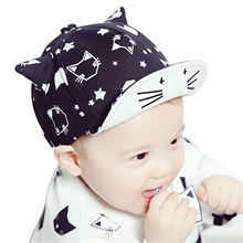 Baby Baseball Cap Cute Print Cat Sun Hat With Ears For Boy Girl Summer Style Children Kid Cap(China)