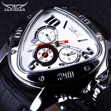Jaragar Sport Fashion Design Mens Watches Top Brand Luxury Automatic Watch Triangle 3 Dial Display Genuine Leather Strap Clock