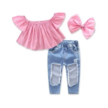 Baby Girls Denim Clothes Kids Headband Tube Blouse And Hole Pants 3pcs Girl Summer Clothing Sets For 80-130