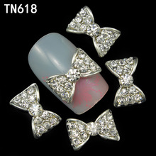 10pcs 3d alloy nails art decoration bow design nail glitter rhinestone stickers nail tools supplier sex product(China)