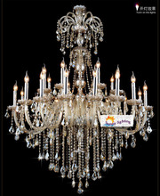Extra large retro cognac crystal light chandeliers for star hotel living room high ceiling vintage traditional chandelier lustre