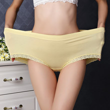 Buy Bamboo fiber women briefs sexy high waist panties Ladies panty lace panties female underwear large size waist 30-41inch
